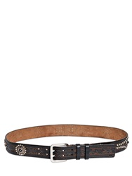 Dsquared 40Mm Studded Embossed Leather Belt Dark Brown