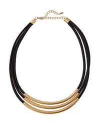 Kenneth Jay Lane Golden Triple Strand Rubber Cord Necklace Black