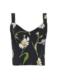 Dolce And Gabbana Margherite Print Cropped Top Black Print