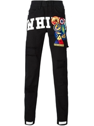 Off White Distressed Patch Detail Trousers Black