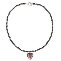 Martick Murano Heart Charm Pearl Necklace Plum