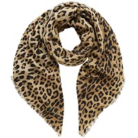 Mulberry Leopard Print Wool Scarf Natural