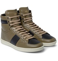 Saint Laurent Colour Block Leather High Top Sneakers Black