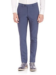 Pal Zileri Wool Slim Fit Dress Pants Blue