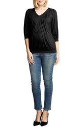 Women's Maternal America Ruched Dolman Top Black
