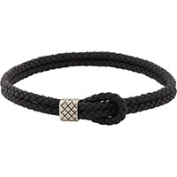 Bottega Veneta Men's Woven Leather Bracelet Black Blue Black Blue
