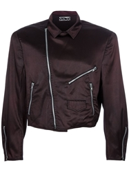 Stephen Sprouse Vintage Cropped Biker Jacket Brown