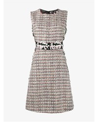 Giambattista Valli Sleeveless Wool Blend Tweed Dress Pink Multi Coloured Linen Black White