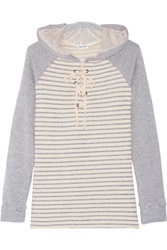 Splendid Lace Up Striped Cotton Blend Hooded Top