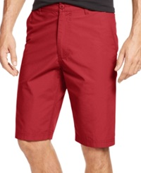 American Rag Solid Slim Fit Poplin Shorts Sunset Red
