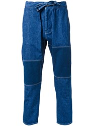 Biro Drawstring Cropped Jeans Blue
