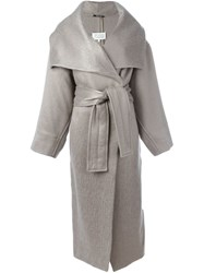 Maison Martin Margiela Belted Long Coat Nude And Neutrals