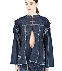 Hannah Jinkins Cut Out Frayed Denim Shirt Blue