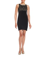 Patra Embroidered Sheath Dress Black Nude