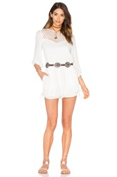 Endless Rose Woven Long Sleeve Romper White