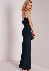Missguided Slinky Cowl Back Maxi Dress Navy