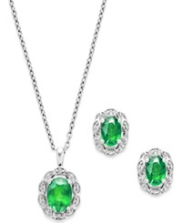 Macy's Gemstone 2 Ct. T.W. And Diamond Accent Jewelry Set In Sterling Silver
