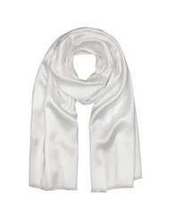 Forzieri Pure White Silk Men's Long Scarf