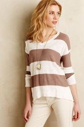 Anthropologie Rugby Stripe Pullover Brown Motif