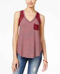 American Rag Striped Lace High Low Tank Top Only At Macy's Zinfandel
