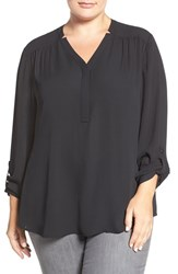Sejour Plus Size Women's Roll Sleeve Henley Blouse