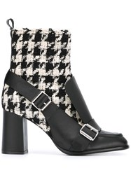 Msgm Tweed Biker Ankle Boots Black