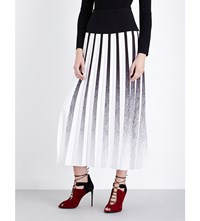 Roland Mouret Shield Pleated Stretch Crepe Midi Skirt Monochrome