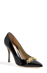 Moschino Letter Pointy Toe Pump Women Black Leather