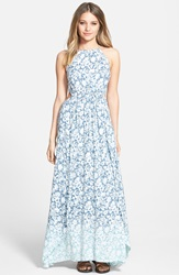 Billabong 'Sounds Of The Sea' Dip Dye Floral Maxi Dress Harbor Blue