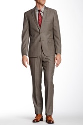 Vince Camuto Taupe Modern Sharkskin Two Button Notch Lapel Wool Suit