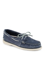 Sperry Salt Washed Navy Canvas Boat Shoes