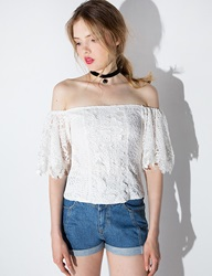 Lace Bell Sleeve Off The Shoulder Top