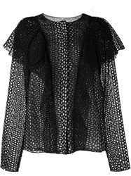Lanvin Perforated Ruffle Jacket Black