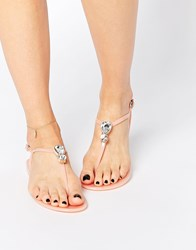 Asos Fabulous Embellished Jelly Sandals Pink
