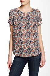 Daniel Rainn Short Sleeve Pebble Blouse Blue