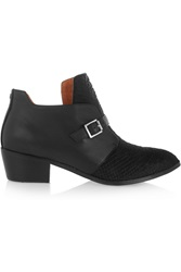 Yosi Samra Leather And Snake Effect Calf Hair Ankle Boots