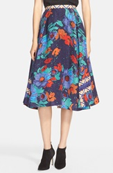 Tracy Reese Floral Print Jacquard Skirt Vibrant Floral