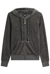 Juicy Couture J Bling Velour Hoodie Grey