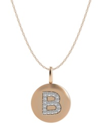 Macy's 14K Rose Gold Necklace Diamond Accent Letter B Disk Pendant