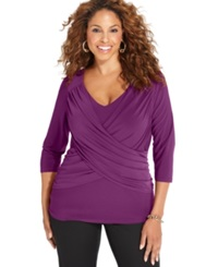 Ny Collection Plus Size B Slim Three Quarter Sleeve Top Dark Purple