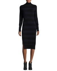 Rag And Bone Careen Striped Mock Neck Sweater Dress Navy Black