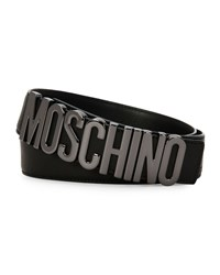 Moschino Metal Logo Adjustable Leather Belt Black Women's
