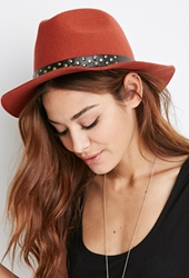 Forever 21 Studded Band Wool Fedora Rust Black