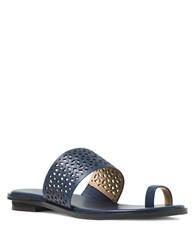 Michael Michael Kors Sonya Perforated Leather Toe Thong Sandals Navy Blue