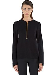 Ellery Minnelli Zipped Crepe Rib Sweater Black