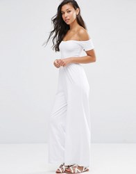 Asos Bardot Jersey Jumpsuit With Wide Leg White