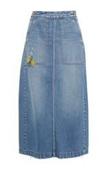 Rebecca Taylor Embroidered Denim Skirt Blue