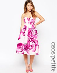 Asos Petite Bright Pink Floral Bandeau Midi Prom Dress Multi