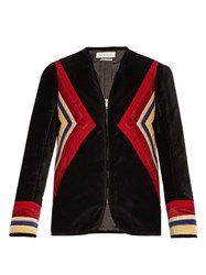 Etoile Isabel Marant V Neck Chevron Panel Cotton Velvet Jacket Black Multi