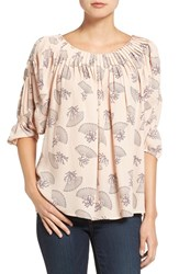 Chelsea 28 Women's Chelsea28 Pleat Neck Print Top Pink Hero Coral Geo